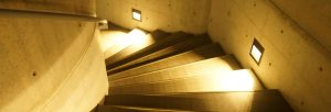 commercial stairwell lit up for better visability